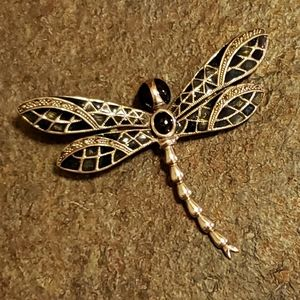Silver Jet Onyx Dragonfly Pin Pendant